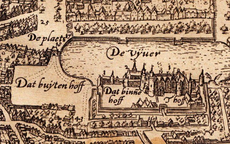 Het Binnenhof en omgeving aan het eind van de zestiende eeuw (Ludovico Guicciardini)