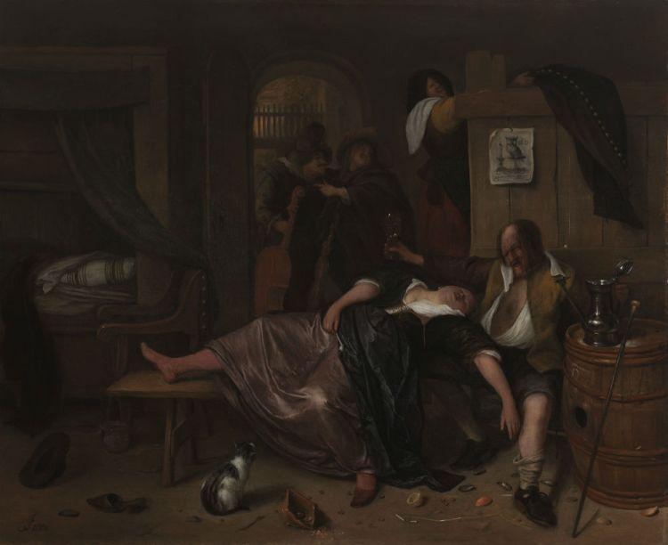 Het dronken paar, Jan Havicksz. Steen, ca. 1655 - ca. 1665