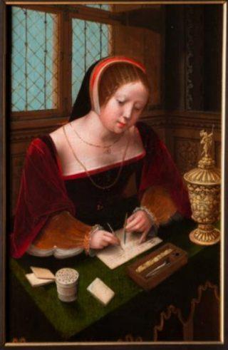 Meester van de vrouwelijke halffiguren, Dame aan haar bureau, ca. 1500-1520 (The Phoebus Foundation)