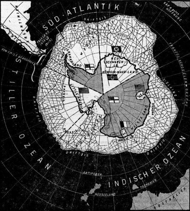 Duitse kaart die duidelijk maakt hoe Antarctica is verdeeld - Deutsche Zeitung in den Niederlanden, 1940 (Delpher)