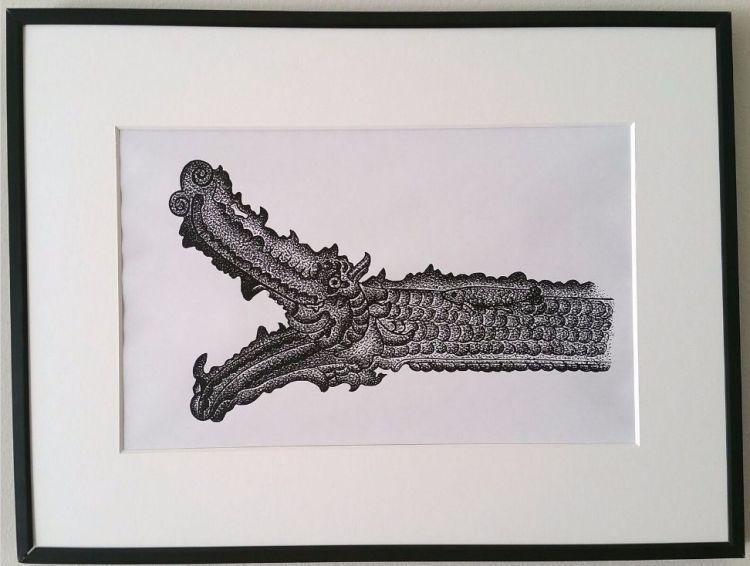 Expatriate Archive Centre - Pentekening van een kanon met drakenhoofd