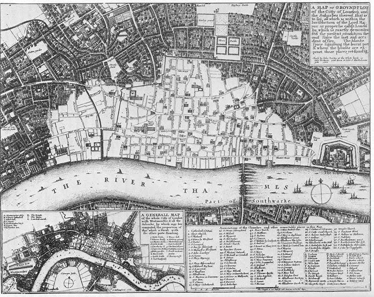 Getroffen gebied op een kaart uit 1667 (The National Archives)