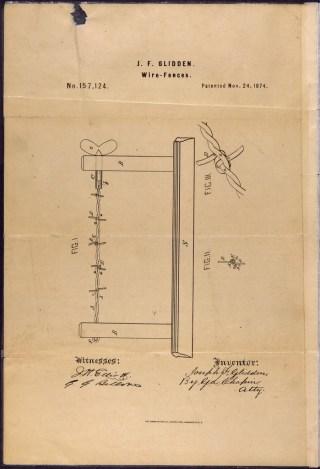 Patenttekening van Joseph Glidden voor het prikkeldraad