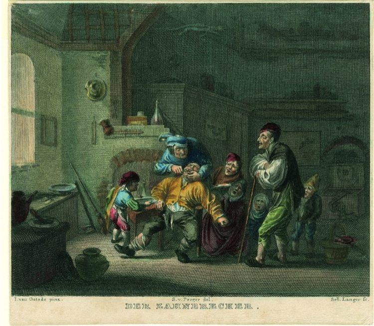 Sebastian Langer naar Adriaan van Ostade Der Zahnbrecher, ca. 1835-1840 staal gravure, met de hand gekleurd, 88 x 107 mm