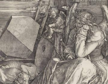 Albrecht Dürer, Melancholie I, Mědiryt, 24,2 × 19,1 cm. (Londen, 1514)