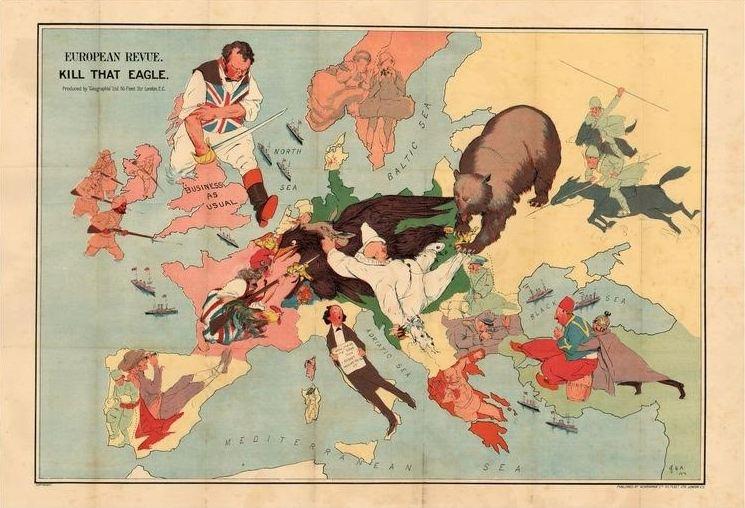 Satirische kaart van 1914 die Groot-Brittannië voorstelt als het land dat net zoals vroeger tussenbeide komt in een Europese oorlog. Ook de Eerste Wereldoorlog was voor Albion 'business as usual'. Deze keer was de Duitse adelaar een bedreiging voor de Britse belangen. (raremaps.com)