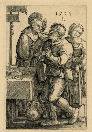 - Lucas van Leyden De rondreizende tandentrekker, 1523 gravure, 116 x 74 mm