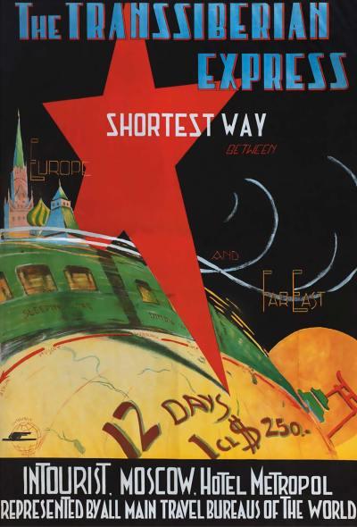 Affiche Transsiberië Express, P. Merinov, ca. 1930