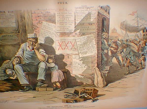 Een cartoon uit 1888 die suggereert dat de immigranten het werk inpikken van de eigen bevolking