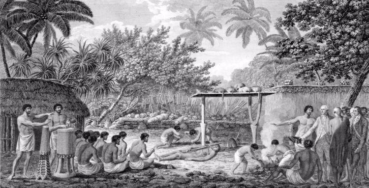 James Cook is er getuige van hoe op Tahiti een mensenoffer wordt gebracht, ca. 1773