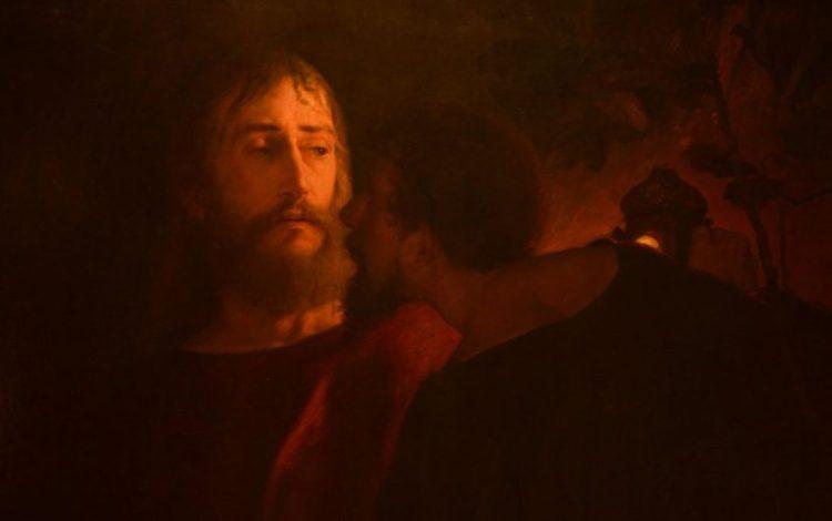 Jezus gekust door Judas Iskariot (de Judaskus) - Eilif Peterssen