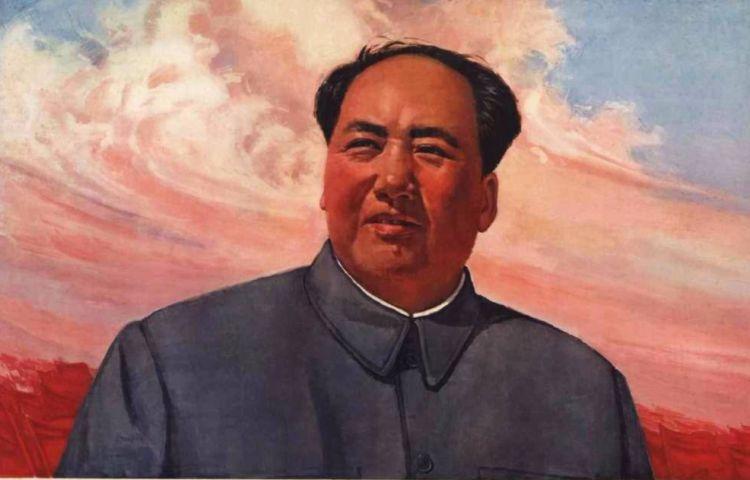 Mao Zedong op een propagandaposter