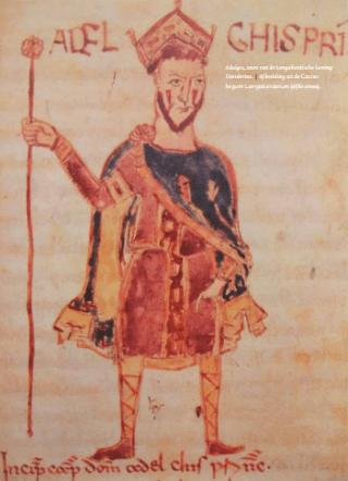 Adalgis, zoon van de Longobardische koning Desiderius. | Af beelding uit de Codex legum Langobardorum (elfde eeuw).