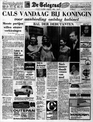 De Telegraaf over de val van het kabinet Cals (Delpher)