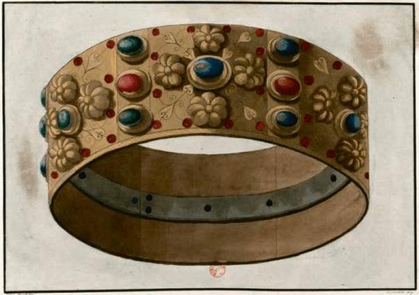 Prent in gemengde techniek uit 1805 van de beroemde IJzeren Kroon van Lombardije. De ijzeren band aan de binnenzijde van de uit gouden plaatjes samengestelde kroon zou af komstig zijn van een nagel uit het kruis van Christus. | Bibliothèque nationale, Parijs.