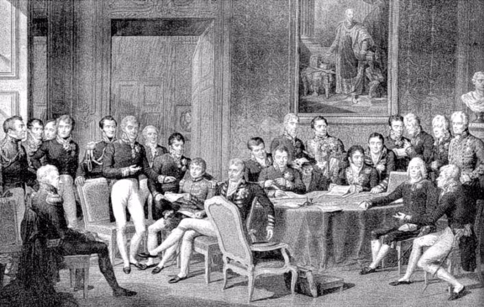 Het Congres van Wenen. De Oostenrijkse voorzitter Metternich staat links voor de stoel. De Franse diplomaat Talleyrand zit rechts met de arm op tafel. Op het schilderij aan de muur is keizer Frans I van Oostenrijk te zien. (Wikipedia - tekening Jean Baptiste Isabey)