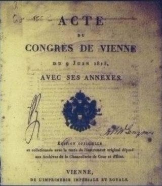 Document waarin de bepalingen van het Congres van Wenen zijn vastgelegd