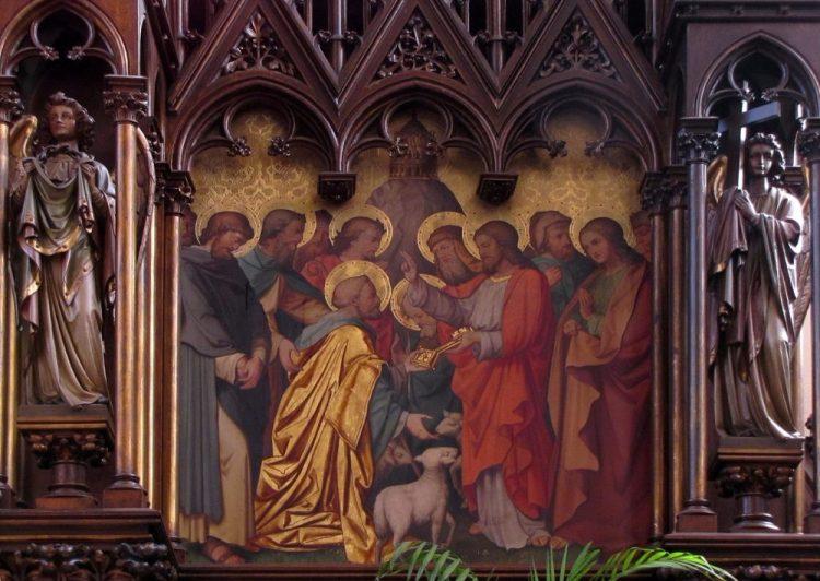 Petrus ontvangt de sleutel van de Hemelpoort