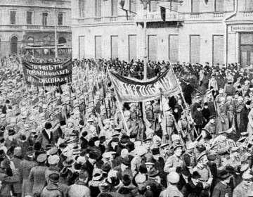 Russische soldaten in Petrograd, 1917