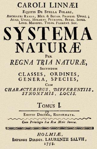 Titelblad van de tiende editie van Linnaeus's Systema naturae (1758)