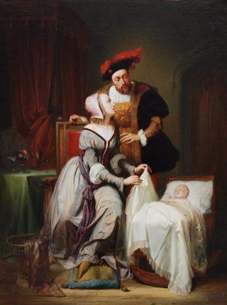 Karel met Johanna van der Gheynst en hun dochter Margaretha. Schilderij van Théodore-Joseph Canneel uit 1844