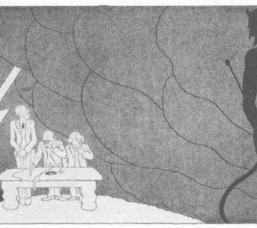 Spotprent. Terwijl de Vrede van Versailles wordt ondertekend pakken donkere wolken zich samen. Rechts lacht de duivel.
