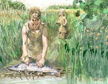 Mesolithische Doggerlandbewoners maken vissen schoon langs de waterkant (Martin Valkhoff, Archeologie gemeente Rotterdam BOOR)