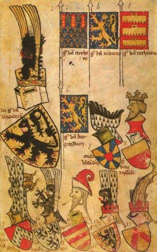 Veertiende-eeuwse wapenboek Gelre, met links midden het wapen van de graaf van Vlaanderen.