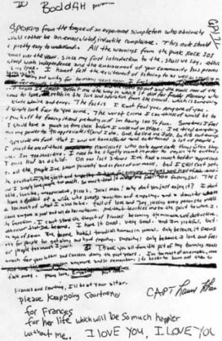 Zelfmoordbrief  van Kurt Cobain - cc