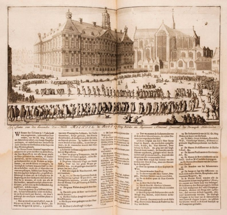De lijkstaatsie op de Dam in Amsterdam. Lambert van den Bos en Lieuwe van Aitzema: Historien onses tyds, 1685-1699.