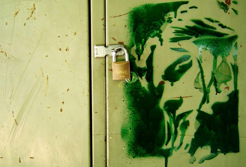 Portret van Kurt Cobain op een kluisje (sxc.hu)