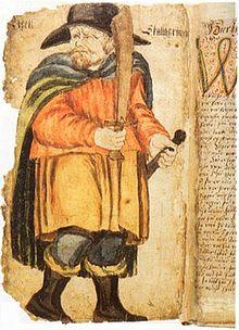 De viking Egill Skallagrímsson, afgebeeld in een manuscript van Egil's Saga in de 17e eeuw, stuitte in ons land.op sloten en bruggen die konden worden weggetrokken.
