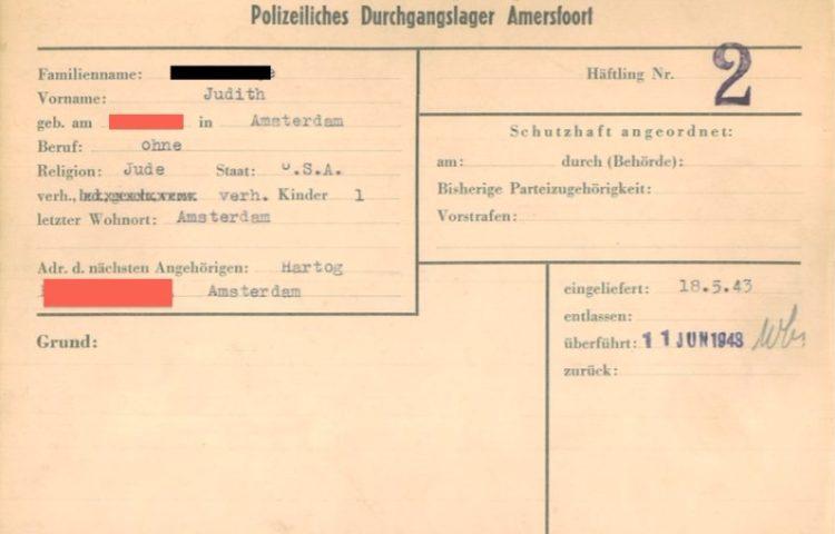 Geanonimiseerde persoonskaart (Kamp Amersfoort)