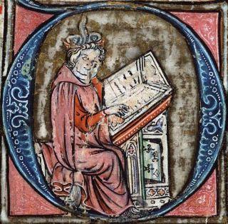 Jacob van Maerlant in Spieghel Historiael, ca. 1325-1335.