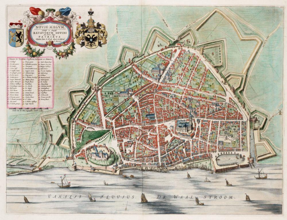 Oude kaart van Nijmegen, 1649 - J. Blaeu