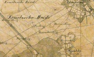 Het fort op een topografische kaart uit de 19e eeuw, maar dan omschreven als 'Heidensch Kamp'. De bevolking had wel in de gaten dat hier een soort kamp had gelegen, maar had geen idee waar het voor diende.