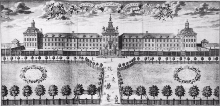 Vooraanzicht van het Bethlehem-hospitaal op de locatie Moorfields eind 17de eeuw. De Engelse wiskundige en architect, Robert Hooke (1635-1703), ontwierp een gebouw dat voldeed aan de toenmalige standaarden. Met een façade van 150 meter breed, de cellen van de patiënten aan één kant van het gebouw en grote galerijen (waar bezoekers tegen betaling naar de 'gekken' konden komen kijken) aan de andere kant, zou Moorfields bijna 150 jaar lang zo'n 120 patiënten huisvesten. (Bron: Wikipedia)
