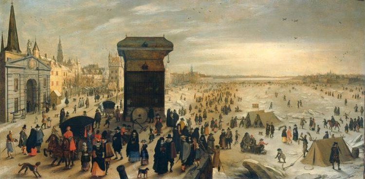 Het Kranenhoofd aan de Schelde. Eeuwenlang was er een kraan gevestigd op de Werf, de landtong die uitsprong in de Schelde en waar de Noormannen in de 9de eeuw neerstreken. Hier zien we het Kranenhoofd in 1622 op een schilderij van Sebastiaan Vrancx (olieverf op paneel, h 58,5cm × b 113cm) De Schelde was toen niet alleen gesloten, ze was ook bevroren. De tentjes en de schaatsende mensen bevinden zich voor alle duidelijkheid op de Schelde.