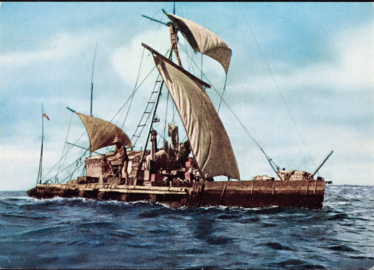 Ansichtkaart met daarop de Kon Tiki