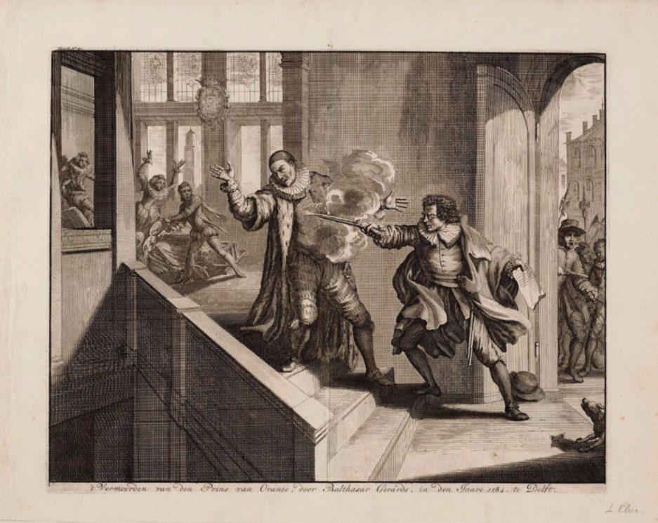 De moord op Willem van Oranje - Prent van Jan Luyken
