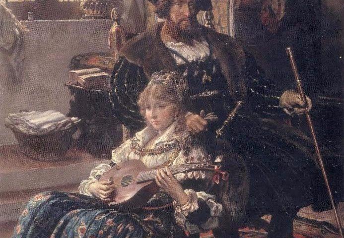 Vilhelm Rosenstand, Koning Christiaan II en Duveke, 1885. Statens Museum for Kunst, Kopenhagen.