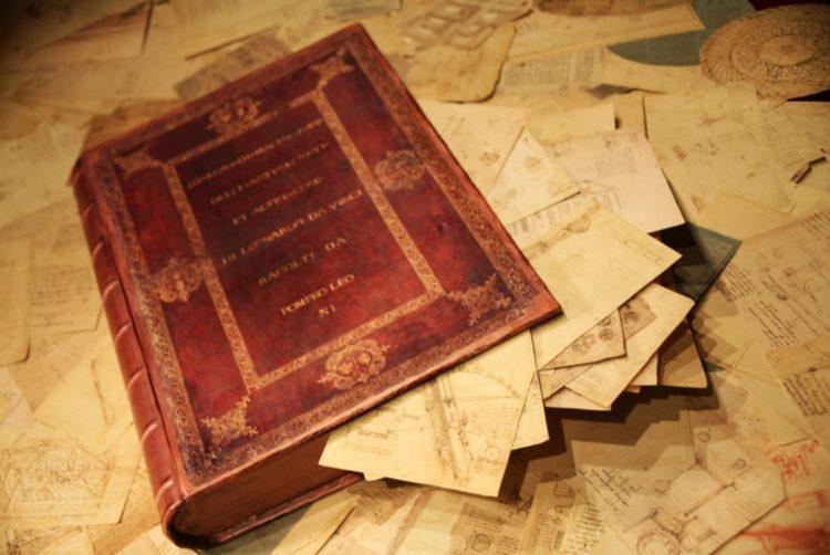 De Codex Atlanticus van Leonardo da Vinci zoals hij in 1600 was, met bijna 1200 manuscripten, verzameld door Pompeo Leoni. Het 'boek' bestond uit een doos. - cc