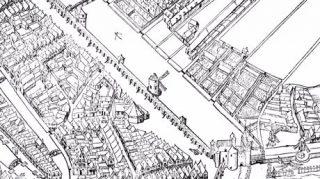 De Haarlemmerpoort met de stadsmuur in 1544   Vogelvluchtkaart houtsnede Cornelis Anthonisz uit 1544