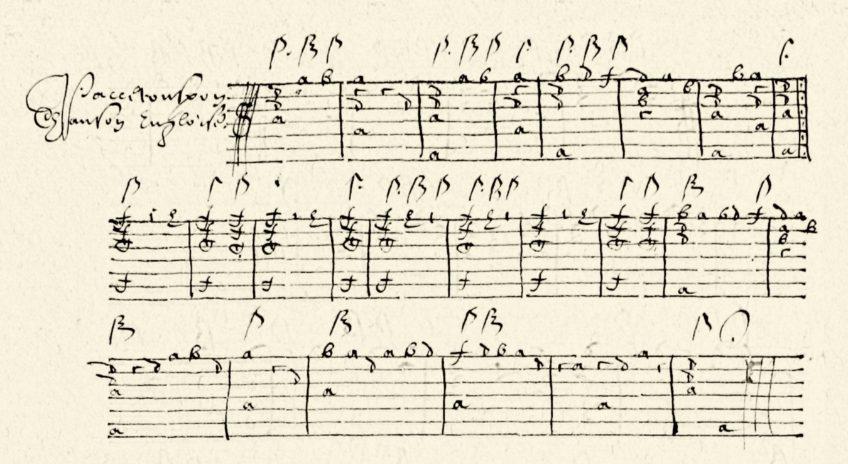 Engelse dans uit het Luitboek van Adriaen Smout; eigendom van Bibliotheca Thysiana