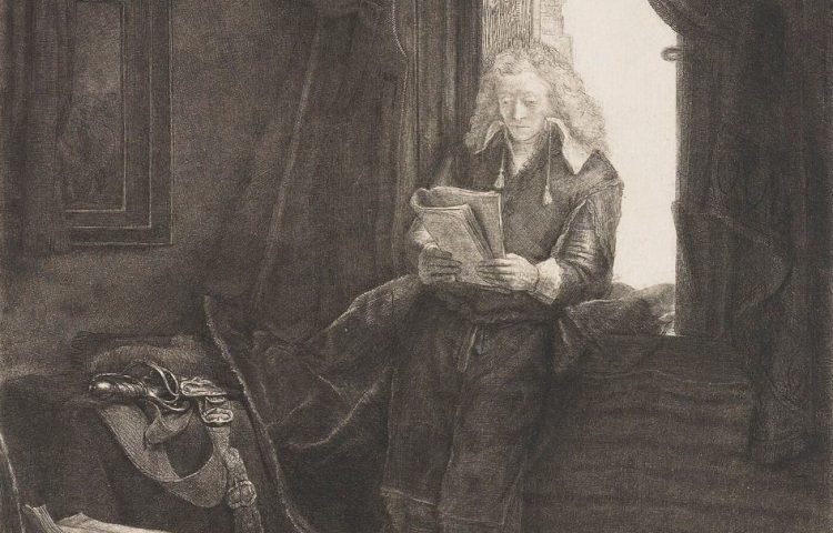 Detail van de ets van Jan Six - Rembrandt van Rijn