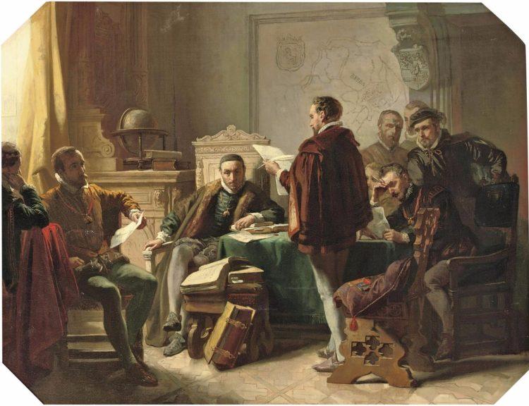Marnix van Sint-Aldegonde draagt het Wilhelmus voor aan Willem van Oranje, door Jacob Spoel