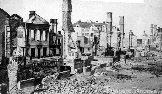 Verwoestingen in Tampere door de Finse Burgeroorlog (Museum van Tampere)
