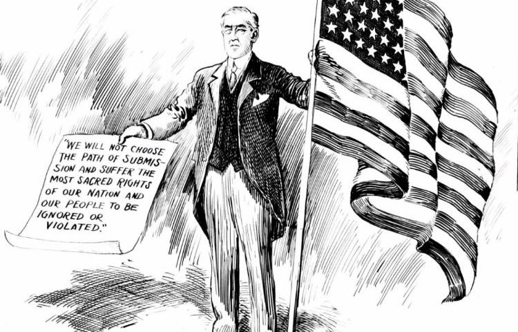Woodrow Wilson op een politieke cartoon (Washington Evening Star 3 april 1917)