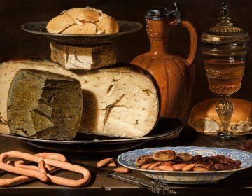 Clara Peeters, Stilleven met kazen, amandelen en krakelingen, ca. 1615, Mauritshuis, Den Haag