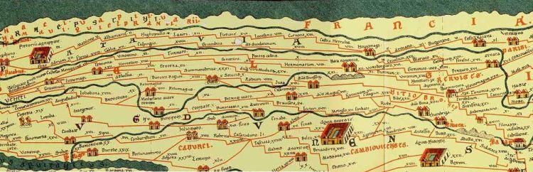 Peutingerkaart - Romeinse wegenkaart, detail